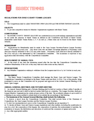 Regulations for Essex Tennis Leagues