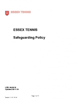 Essex Tennis Safeguarding policy updated Nov 18
