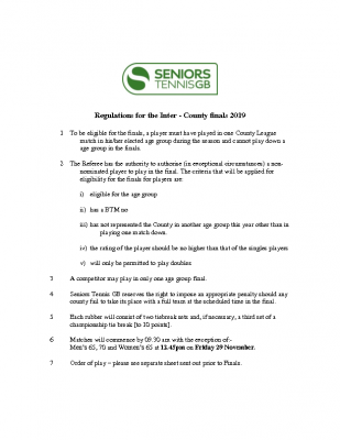Regulations for Inter-County finals 2019