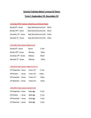 County Training Dates Sept – Dec. 19 Term 1