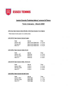 Essex Tennis Junior County Training Dates