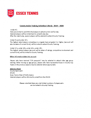 Essex Tennis County Training selection Criteria
