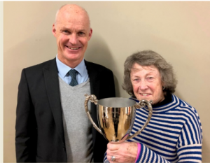 Volunteer Lesley Pitt awarded the John Chesher Trophy
