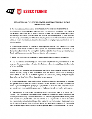 REGULATIONS FOR THE HARRY BRICKWOOD SENIORS LADIES WINTER KNOCK OUT COMPETITION