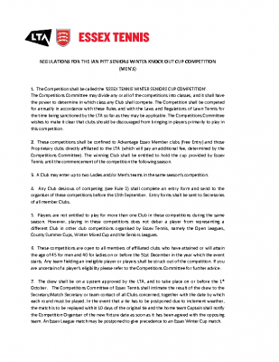 REGULATIONS FOR THE IAN PITT WINTER SENIORS MENS WINTER KNOCK OUT COMPETITION