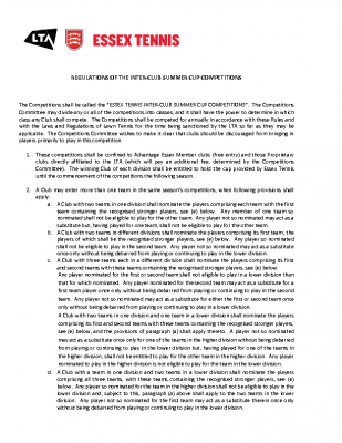 REGULATIONS FOR THE INTER CLUB SUMMER CUPS