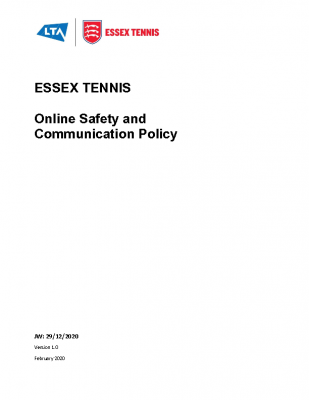 Essex Tennis Online Safety and Communication Policy – Dec 2020
