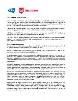 Essex Tennis Safe Recruitment Policy Dec 20