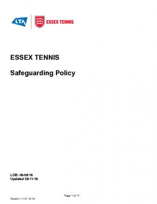 Essex Tennis Safeguarding Policy Dec. 20