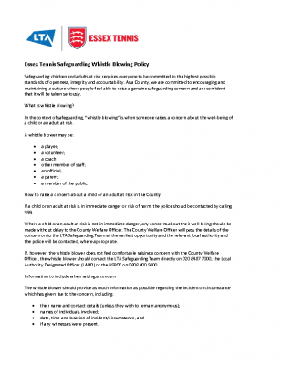 Essex Tennis Whistleblowing Policy Dec 20