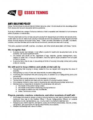 ESSEX TENNIS ANTI BULLYING POLICY UPDATED MAY 21