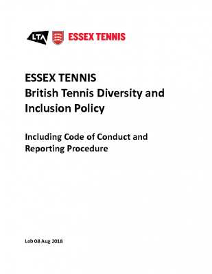 ESSEX TENNIS DIVERSITY AND INCLUSION POLICY UPDATED MAY 21
