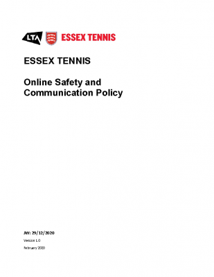 ESSEX TENNIS ONLINE SAFETY AND COMMJNICATION POLICY UPDATED MAY 21