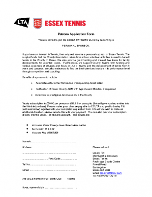 ESSEX TENNIS PATRONS APPLICATION FORM