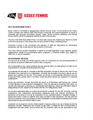 ESSEX TENNIS SAFE RECRUITMENT POLICY UPDATED MAY 21