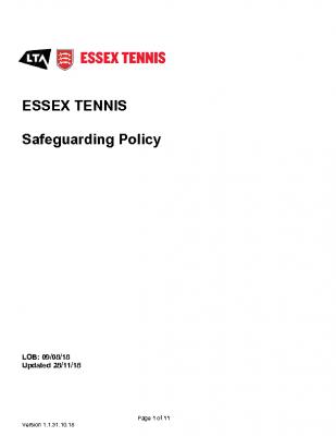 ESSEX TENNIS SAFEGUARDING POLICY UPDATED NOV 18