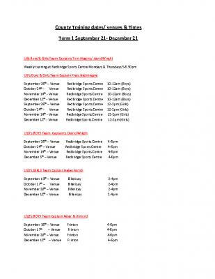 County Training dates Term 1