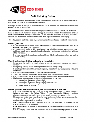 ESSEX TENNIS ANTI BULLYING POLICY UPDATED AUGUST 21