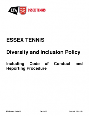 ESSEX TENNIS DIVERSITY AND INCLUSION POLICY UPDATED JULY 21