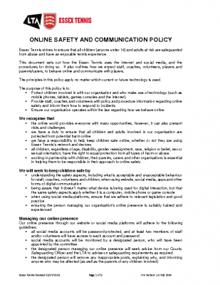 ESSEX TENNIS ONLINE SAFETY AND COMMUNICATION POLICY UPDATED AUGUST 21