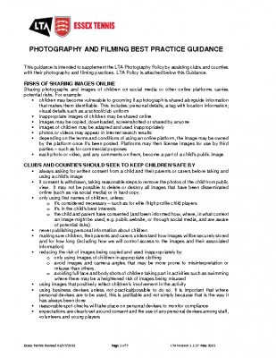 ESSEX TENNIS PHOTOGRAPHY AND FILMING BEST PRACTICE GUIDANCE UPDATED AUGUST 21
