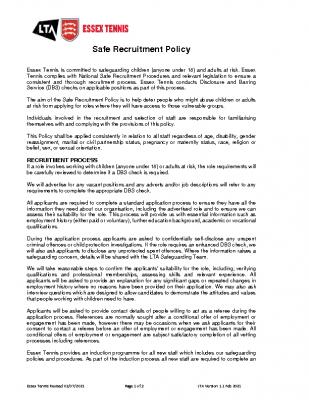 ESSEX TENNIS SAFE RECRUITMENT POLICY UPDATED AUGUST 21