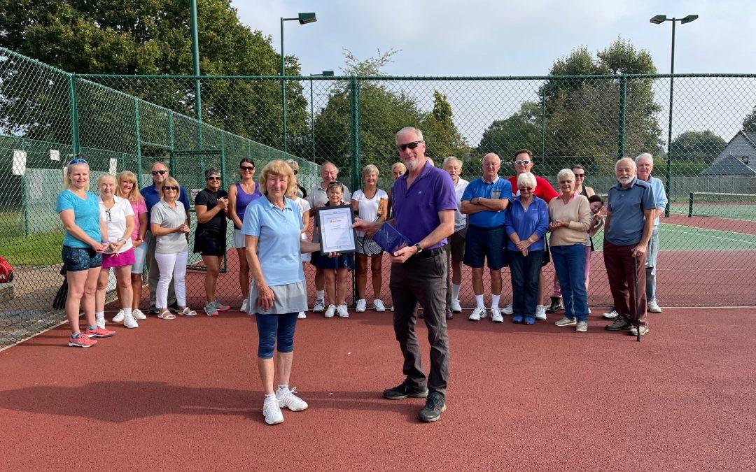 Jan Rochester of Wickham Bishops Tennis Club receives her Meritorious Award